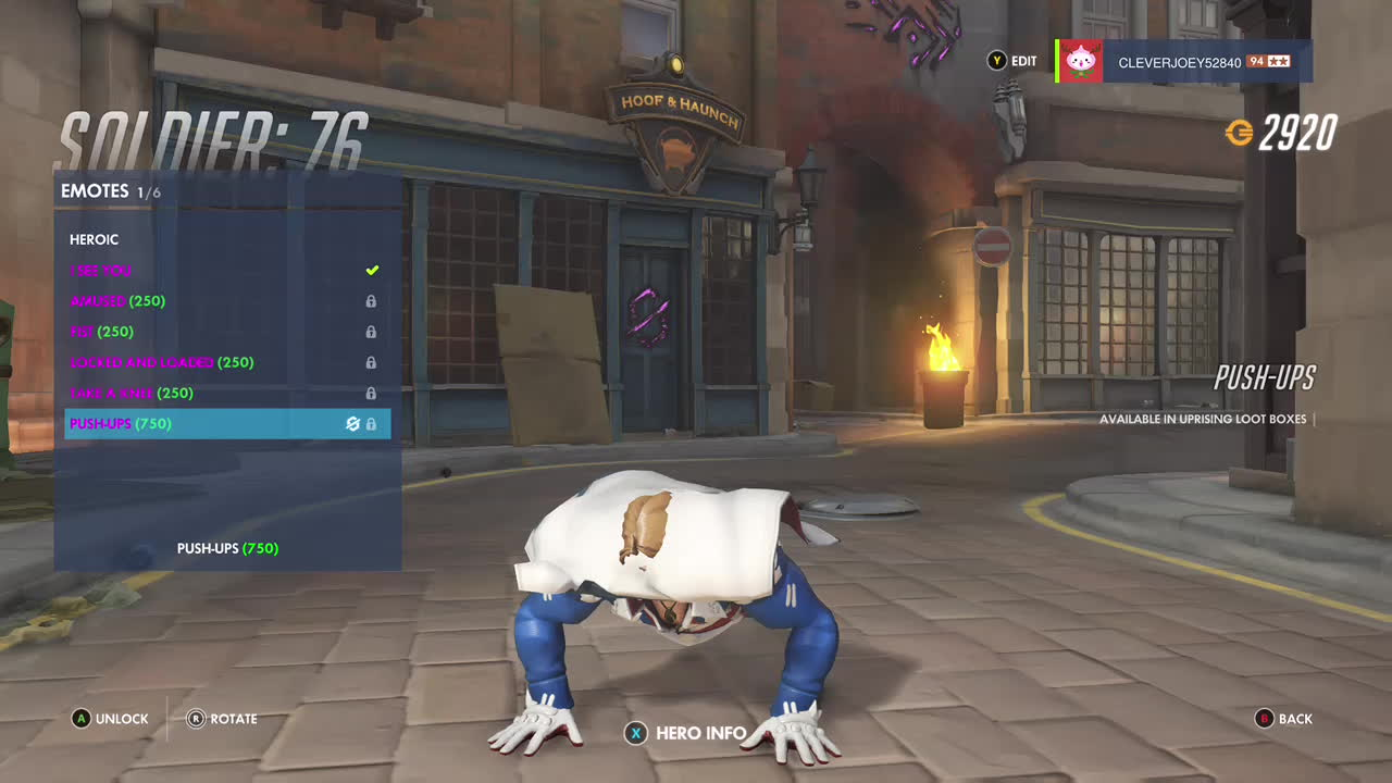 GamePhysics, Overwatch, Overwatchmemes, [Bug] Soliders new 'Pushup' Emote does not support his Daredevil 76 skin GIFs