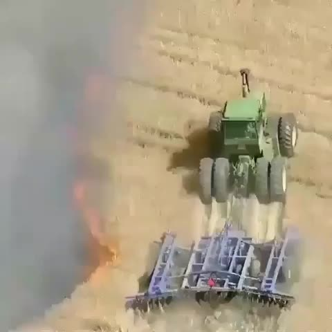 Watch and share Farmer Creating A Buffer Around His Land As A Wildfire Closes In GIFs by wormwoodsnorter on Gfycat