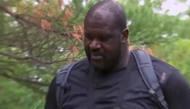 Watch and share Shaquille O'Neal Stumbling Across A Placenta | Running Wild With Bear Grylls GIFs on Gfycat