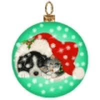 Watch and share Christmas Puppy Kitten Ornament animated stickers on Gfycat