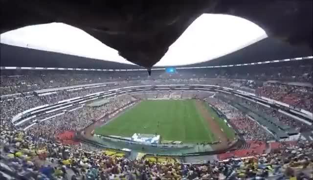 Watch and share Impresionante El Vuelo Del Aguila Celeste En El Estadio Azteca | 2014 GIFs on Gfycat