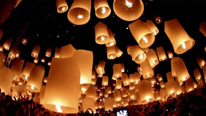 holiday, lantern festival, Floating lanterns being released at a festival in Thailand GIFs