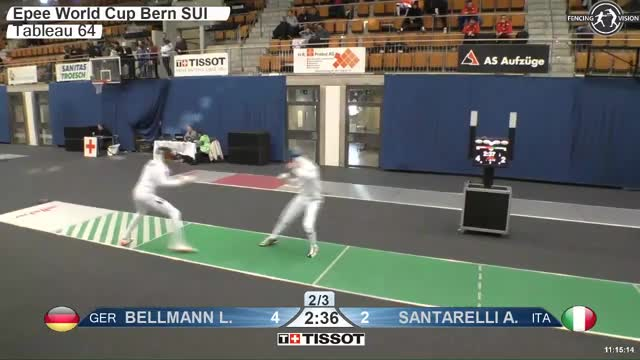 Watch BELLMANN Lr 4 GIF by Scott Dubinsky (@fencingdatabase) on Gfycat. Discover more gender:, leftname: BELLMANN Lr, leftscore: 4, rightname: iANTARELLl A, rightscore: 2, time: 00006379, touch: double, tournament:, weapon: epee GIFs on Gfycat