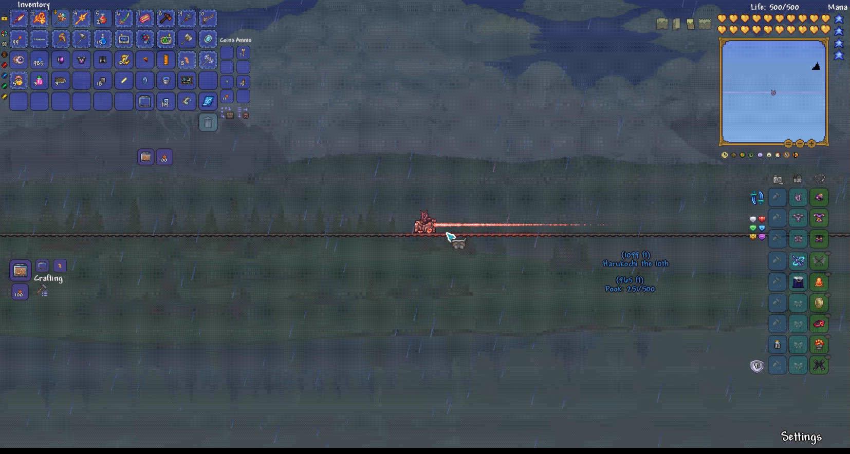 Terraria, Passing over the Nebula Pillar GIFs
