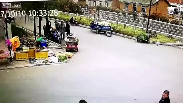 Watch and share Truck With Car In Front Hits Roadside People GIFs on Gfycat