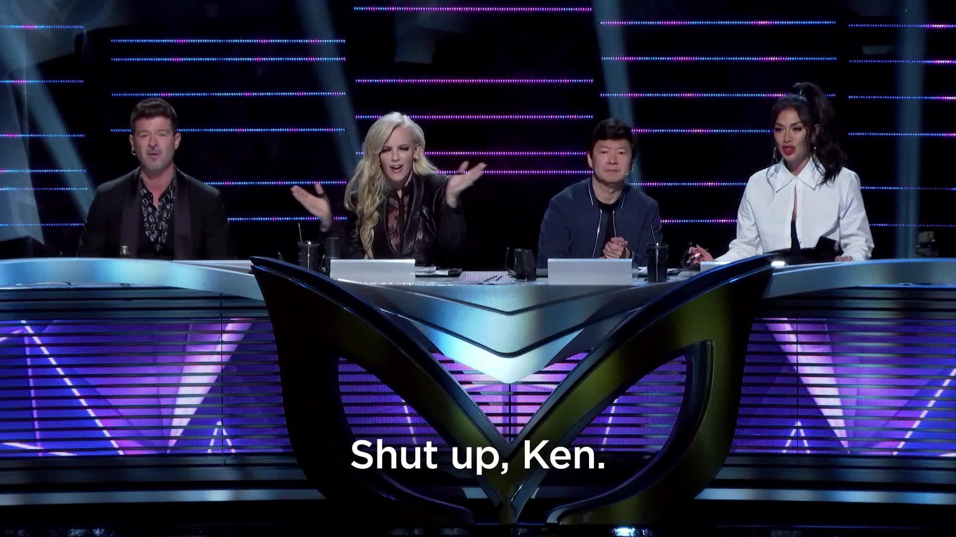 applause, jenny mccarthy, ken jeong, masked singer, nicole scherzinger, oh snap, robin thicke, shut up, slow clap, the masked singer, the masked singer on fox, Shut Up, Ken GIFs