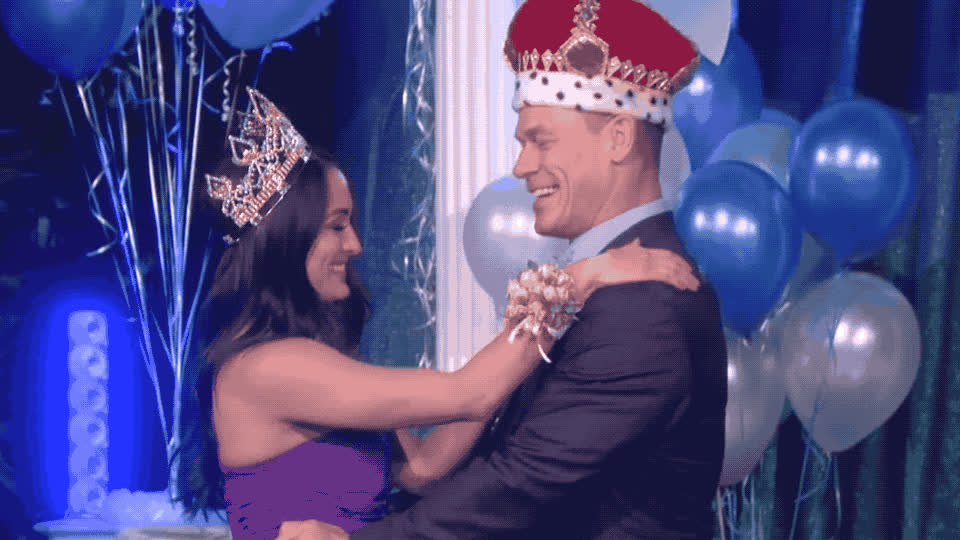 I love you, a, awww, ballons, cena, cheesy, couple, ellen, gets, john, king, kiss, kisses, love, prom, queen, show, surprise, together, wife, John Cena gets a prom surprise GIFs