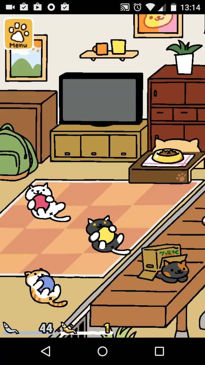 nekoatsume, Snowball, Pumpkin and Socks playing with a Rubber Ball (reddit) GIFs
