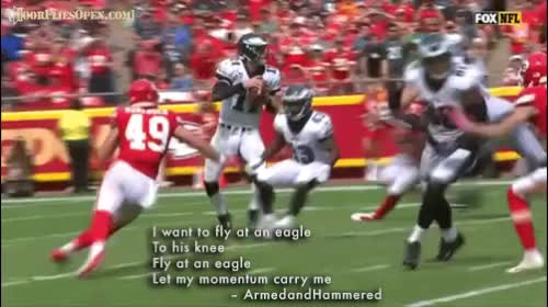 Watch I want to fly at an eagle To his knee Fly at an eagle Let my momentum carry me - ArmedandHammered GIF by Unsurprised (@unsurprised) on Gfycat. Discover more 2017 season, 2017 season week 2, chefs, chiefs, dfo, door flies open, doorfliesopen, doorfliesopen.com, eagles, football, kansas city chiefs, nfl, philadelphia eagles, quotables, roger goodell is a national disgrace, sack, week 2 GIFs on Gfycat