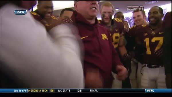 uofmn, Jerry Kill's locker room dance after beating Iowa GIFs