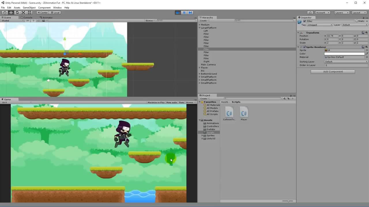 13  Unity 5 Tutorial For Beginners: 2D Platformer - Camera Follow GIF