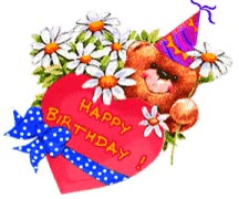 Watch and share Birthday Bear Flowers animated stickers on Gfycat