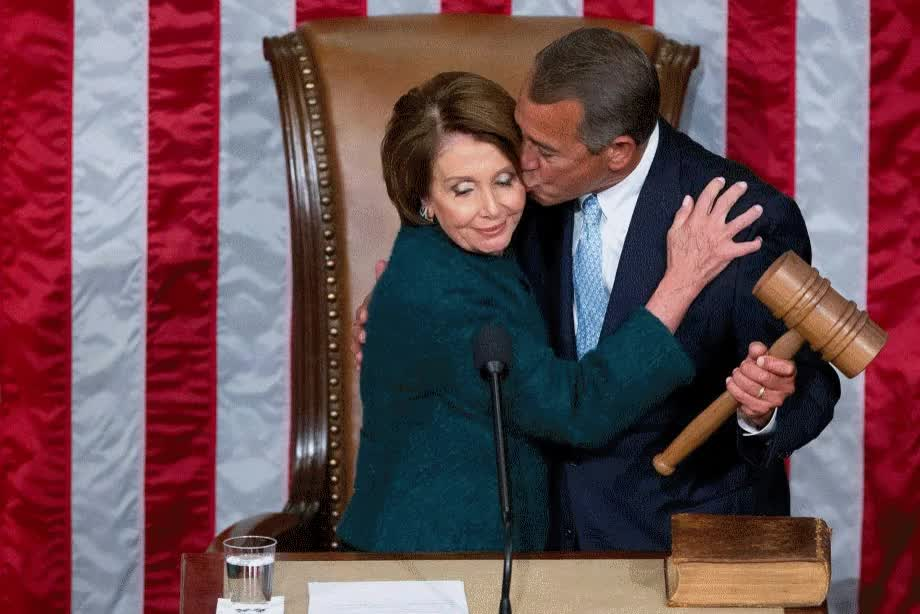 nancy pelosi, politics, PsBattle: Boehner kissing Pelosi : photoshopbattles GIFs