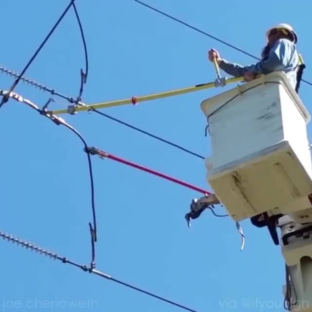 Watch and share Cutting High Voltage Power Line GIFs by Jackson3OH3 on Gfycat