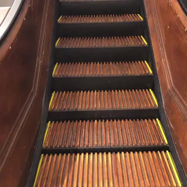 """Wooden treads and wooden rails. This is a first for me. If I've seen this before I can't remember. """"The escalators were built between 1920 a GIFs"""