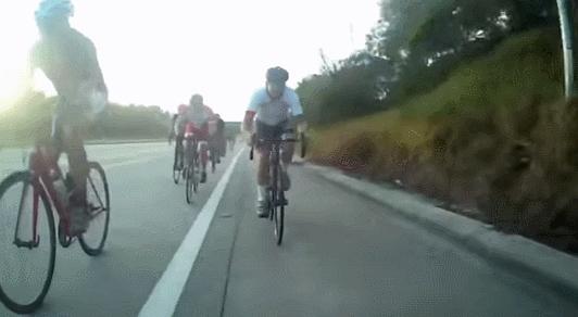 dashcamgifs, Bike rider finds a stick (reddit) GIFs