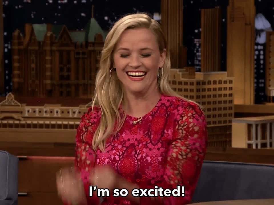excited, happy, reese witherspoon, tonight show, Reese Witherspoon Excited GIFs