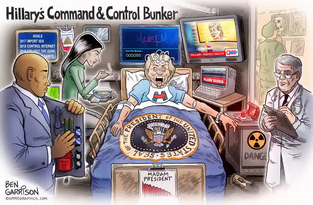 Hillary's Command & Control Bunker (gif by Ben Garrison)