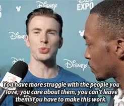 Watch But damn is he lovable GIF on Gfycat. Discover more :), THEY all still love each other is what I get from this, anthony mackie, chris evans, civil war, civilwaredit, d23, evansedit, mackieedit, marvelcast, marvelcastedit, marveledit, my edits GIFs on Gfycat