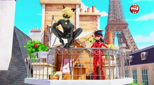 Watch and share Chat Noir And Ladybug On The Bakery Roof GIFs on Gfycat