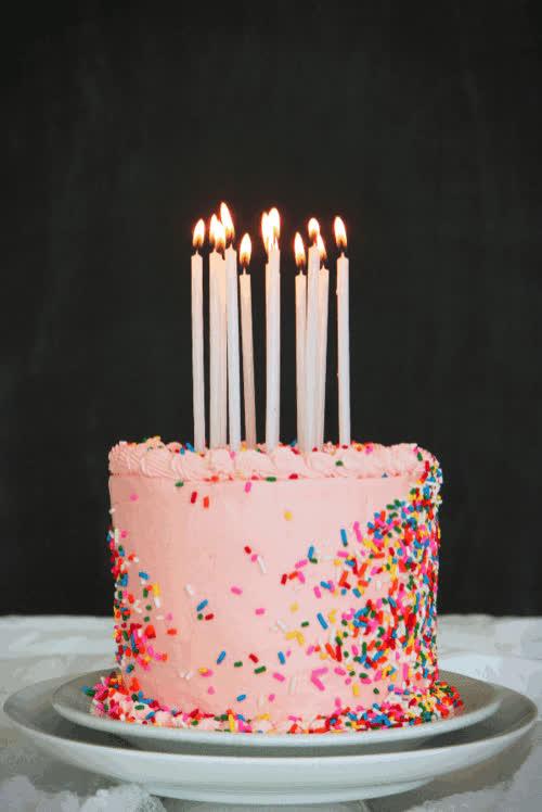 birthday, birthday cake, birthday candles, cake, candles, celebrate, happy birthday, sprinkles, Birthday Cake GIFs