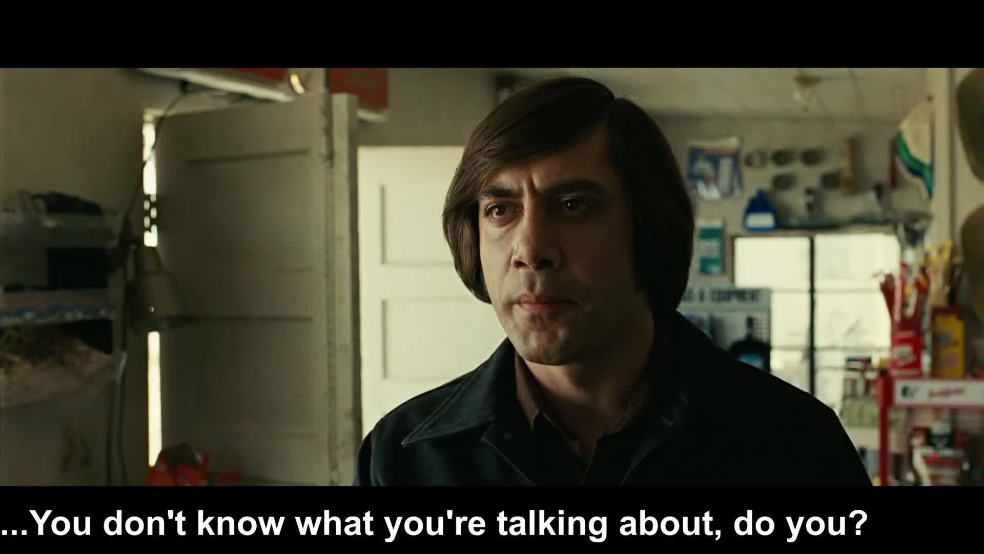 celebs, coin, country, for, guns, i don't know, idk, javier bardem, killer, men, no, no country for old men, old, toss, You don't know what you're talking about GIFs