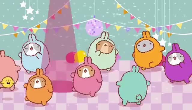 Watch and share Molang - The Party | Cartoon For Kids GIFs on Gfycat