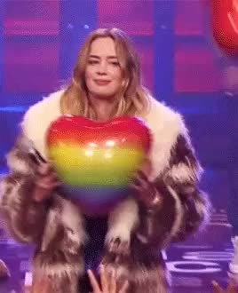 Watch this emily blunt GIF on Gfycat. Discover more emily blunt, heart balloon, lip sync battle, my gifs GIFs on Gfycat
