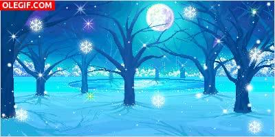 Watch and share GIF: Copos De Nieve En Una Noche De Luna Llena GIFs on Gfycat