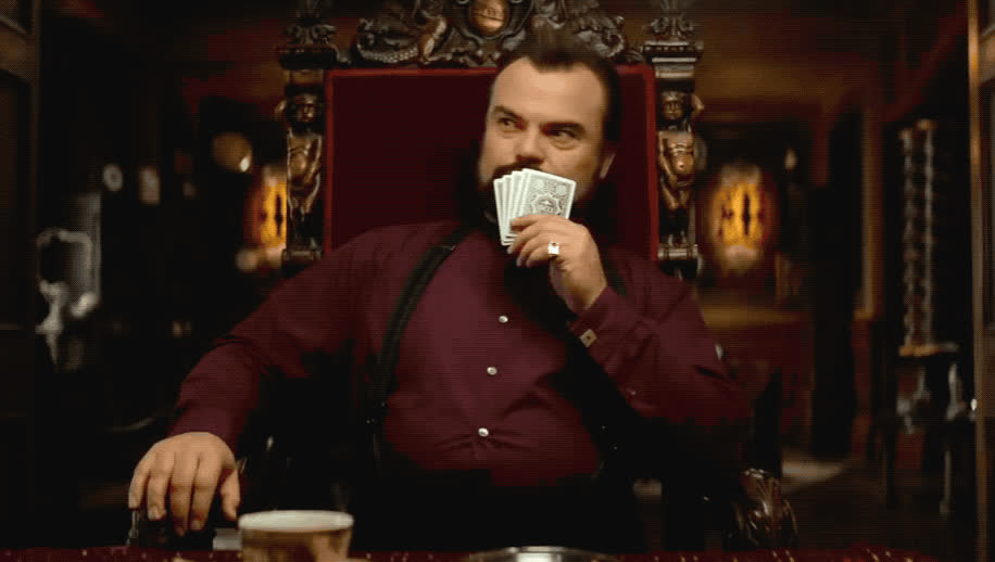 black, blush, cards, clock, evil, foxy, hmm, house, in, its, jack, laugh, plan, play, sly, smile, the, tricky, walls, with, Jack Black - Hmmm GIFs