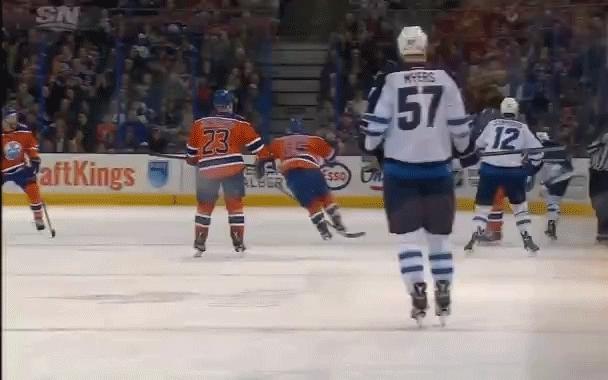 edmontonoilers, hockey, Devin Berg (linesman) hurt, alt view GIFs