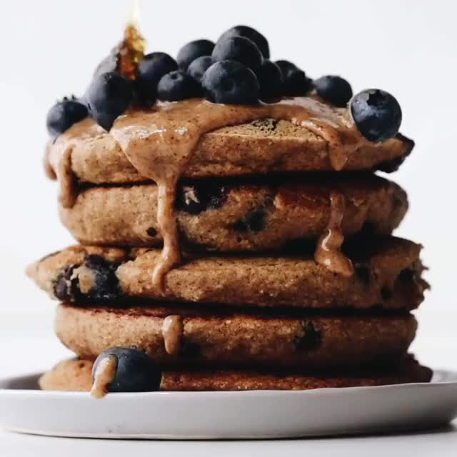 Watch and share {NEW} Fluffy Vegan Blueberry Pancakes! Soft And Fluffy Blueberry Pancakes Ma... GIFs on Gfycat