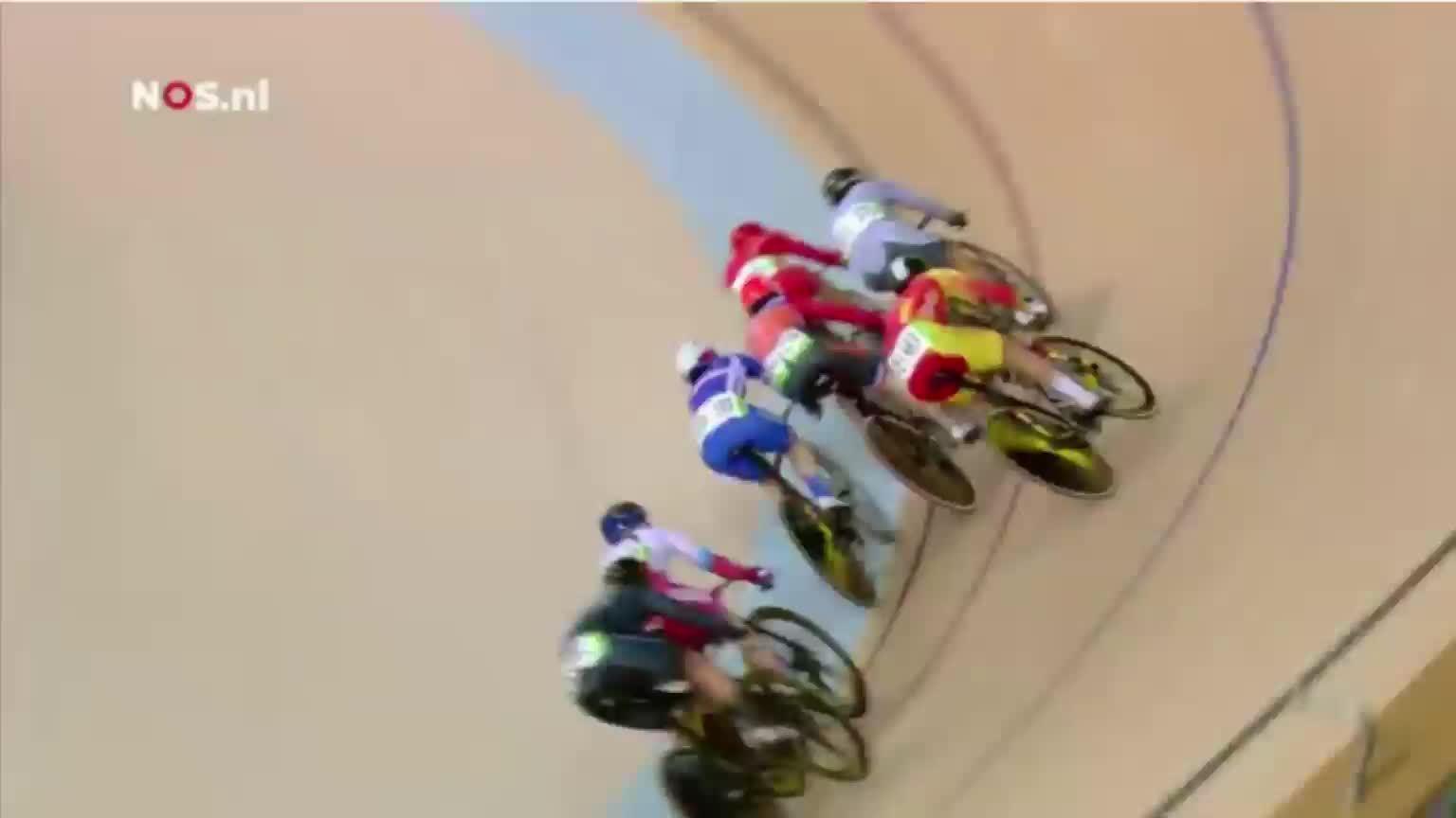 olymgifs, olympics, rio2016, Dutch indoor cyclist Laurine van Riessen almost leaves track GIFs