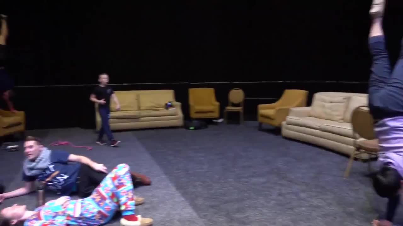 Circus performer warming up between acts GIFs