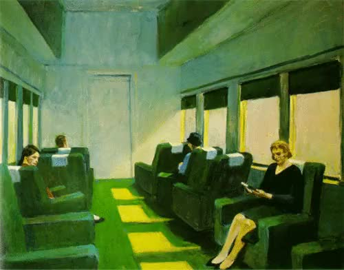 Watch 'Chair Car' by Edward Hopper (1965) GIF on Gfycat. Discover more 1960s, 60s, chair car, edward hopper, gif, painting, realist GIFs on Gfycat