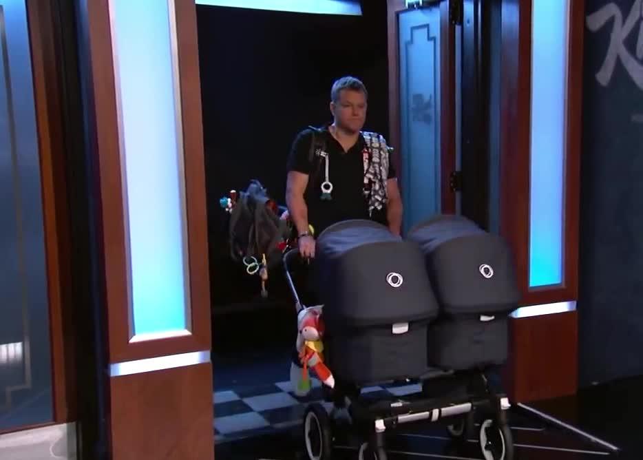 baby, babysitter, bebe, carrier, clooney, deymon, george, matt, matt damon, twins, walk, George Clooney's Twins Make Television Debut GIFs