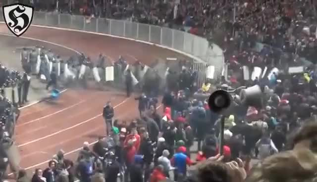 Watch and share Russian Hooligans : Spartak Moscow Vs Police GIFs on Gfycat