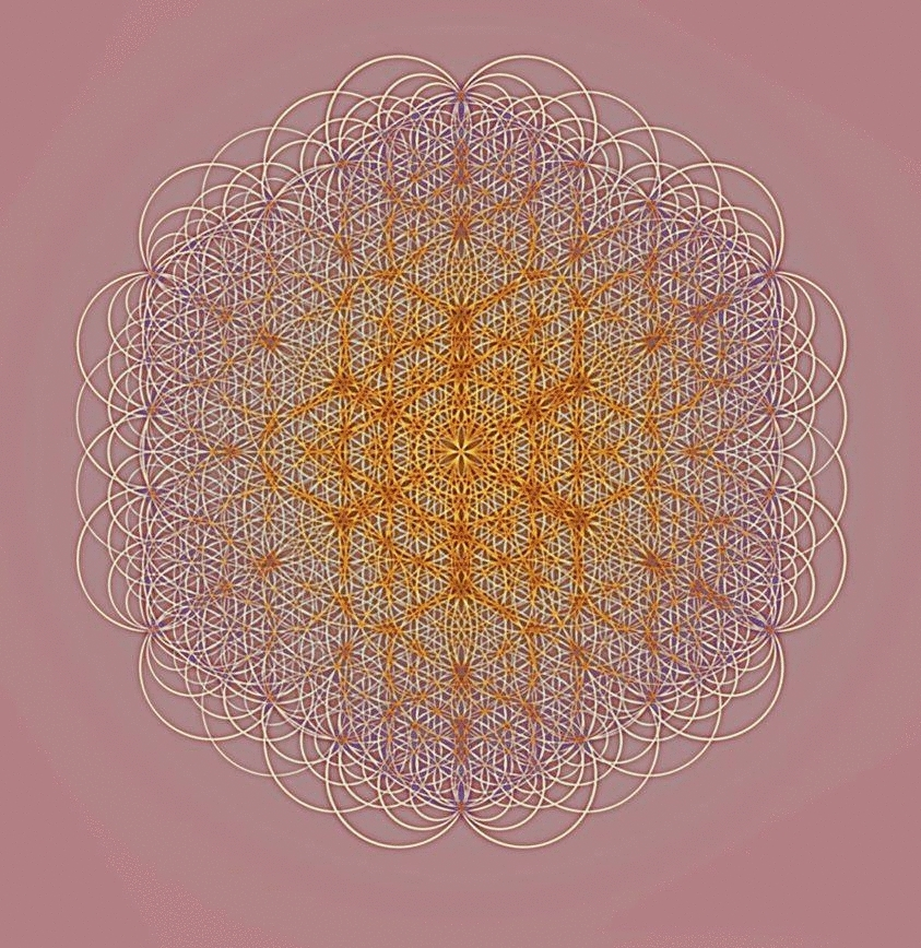 sacredgeometry, Golden ratio scaled flower of life with two octaves of overlapping vector equilibrium (reddit) GIFs