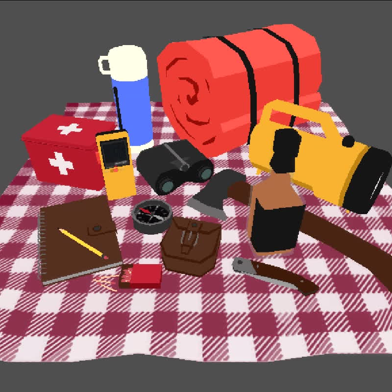 3d modelling, camping, low poly, low poly camping 2 GIFs