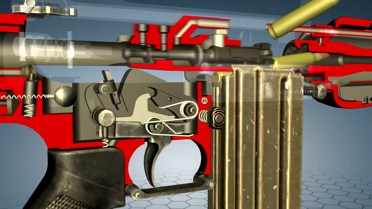 Game, animation, cutaway, m16, program, software, How does M16 work - 3D model animation GIFs