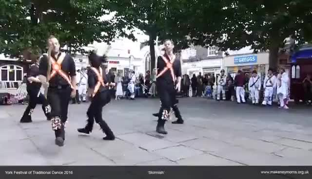 Watch and share Makeney Morris Dancing Skirmish At York Festival Of Traditional Dance 2016 GIFs on Gfycat