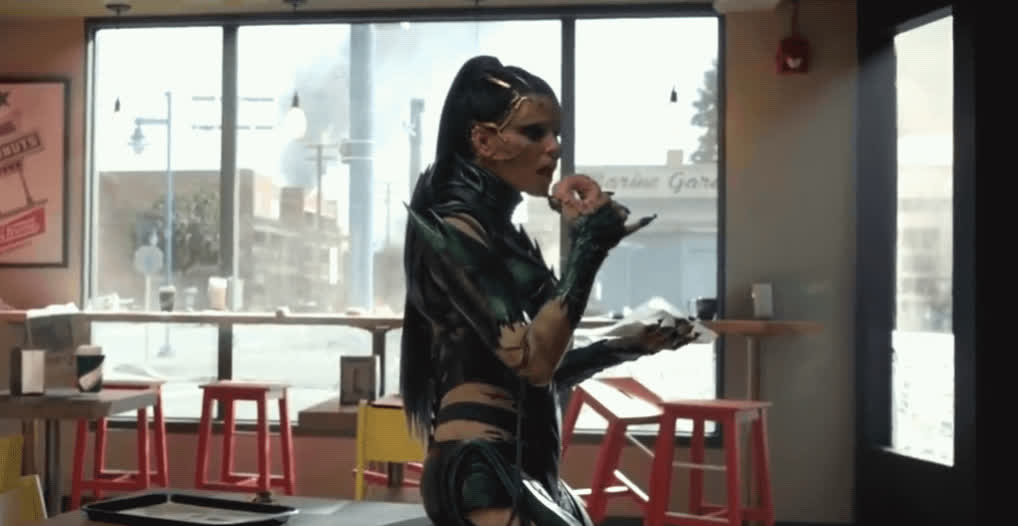 dgaf, donut, elizabeth banks, power rangers, rita repulsa, unbothered, Priorities: Donuts GIFs
