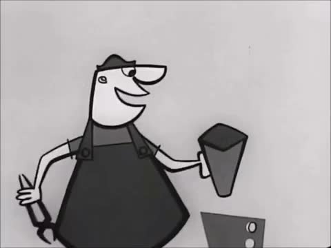 Watch Coffee Break: Via Maxwell House Ad: (1950s) Marc Rodriguez GIF by Marc Rodriguez (@marcrodriguez) on Gfycat. Discover more .funny, 1950s, ad, animated, animation, beam, black and white, break, coffee, construction, marc rodriguez, maxwell house, vintage, working GIFs on Gfycat