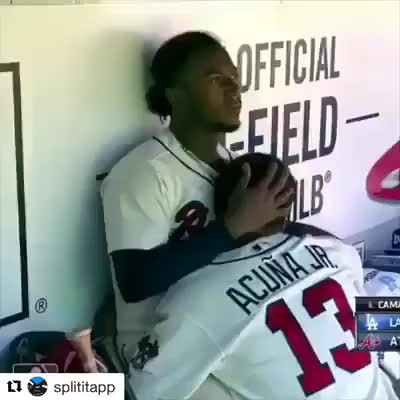 Watch Ozzie Albies comforts his friend Ronald Acuna who found out his mother passed away during the game. (reddit) GIF by LimeLights  (@makeagiffoundation) on Gfycat. Discover more related GIFs on Gfycat