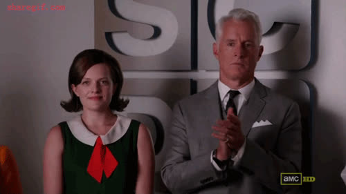 applause, clapping, elisabeth moss, john slattery, mad men, reactions, The-Roger-Sterling-slow-clap-gif GIFs