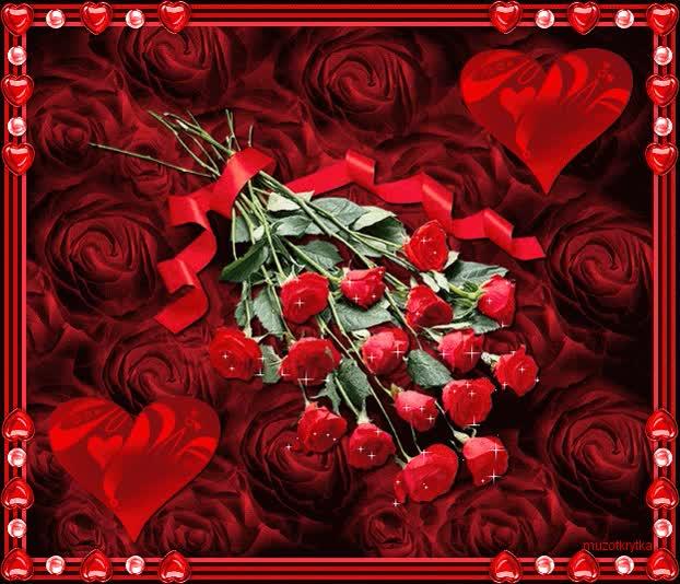 Watch and share Анимационная Открытка 8 Марта, Красные Розы Сердечки GIFs on Gfycat