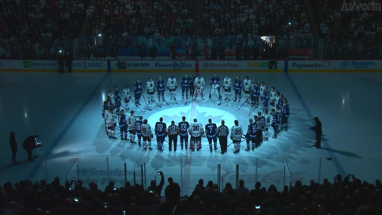 hockey, Moment of Silence for the Humboldt Broncos during pregame of CHI@WPG GIFs
