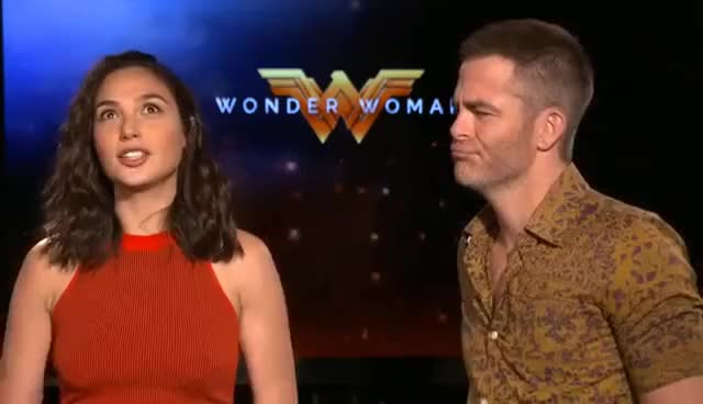 Watch WONDER WOMAN interviews - Gal Gadot, Chris Pine, Patty Jenkins, Connie Nelsen, Huston GIF on Gfycat. Discover more related GIFs on Gfycat