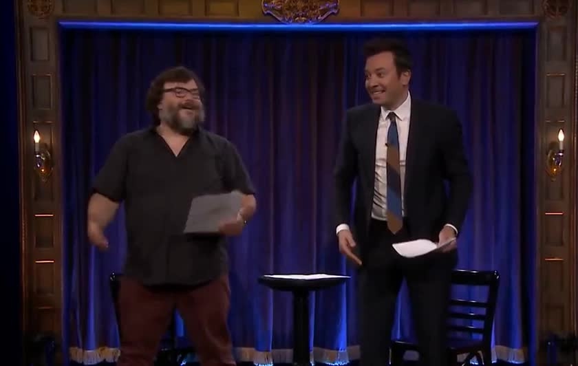black, dance, dancing, fallon, funny, jack, jimmy, kid, lol, party, robot, show, theater, tonight, Kid Theater with Jack Black GIFs