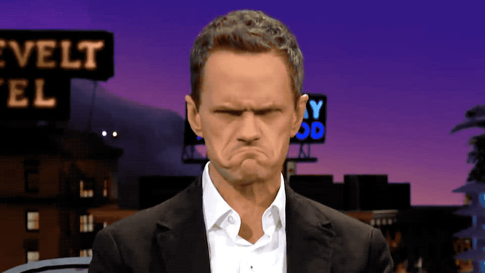 awkward, confused, corden, dumb, expression, facial, figure, harris, james, late, master, neil, night, out, patrick, sad, show, smile, think, wink, Neil Patrick Harris has mastered facial expressions GIFs